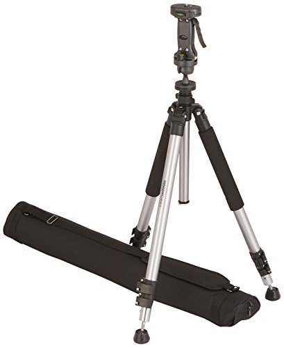 AmazonBasics Pistol Grip Camera Travel Tripod With Bag - 34.4 - 72.6 Inches, Black