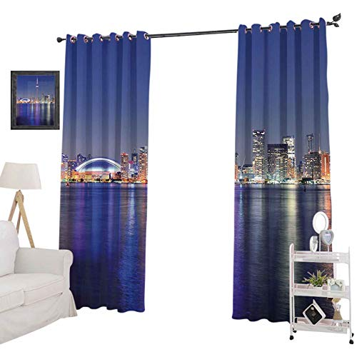 """YUAZHOQI Insulated Room Darkening Curtains Canada Toronto Sunset Over The Lake Panorama Urban City Skyline with Night Light, Room Darkening Blackout Drapes for Bedroom 52"""" x 84"""", Blue Pink Peach"""
