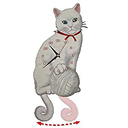 White Cat Pendulum Wall Clock, Cat Clock, Cat Clock with Moving Tail, Cat Swinging, Turkish Van Cat, Funny Wall Clock, Cute Wall Clock, Gift for White Cat Lovers, Cat with 2 Different-Colored Eyes
