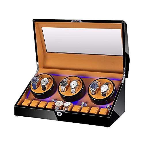 HKX Caja enrolladora de Reloj automática para 6 Relojes + 10 de Almacenamiento Carcasa de Madera Acabado de Pintura de Piano Iluminación incorporada Motor silencioso enrollador de Reloj