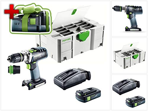 Preisvergleich Produktbild Jetzt mit GRATIS AKKU: Festool DRC 18 / 4 Li-Basic Akku Bohrschrauber QUADRIVE im Systainer + 1 x BP 18 Li 3, 1 Ah Akkupack + TCL 6 Li-Ion Schnell Ladegerät