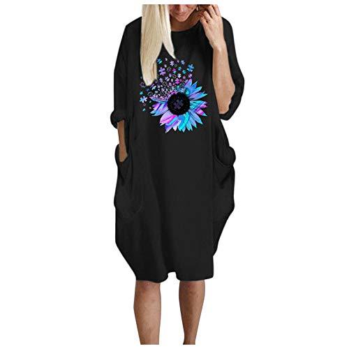Vestido con Estampado de Flores para Mujer Verano Vestido Largo Suelto con Bolsillo Y Cuello Redondo Suelto