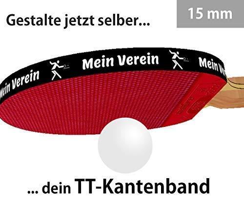 3 STK. Tischtennis Kantenband 15 mm schwarz mit eigenem Text