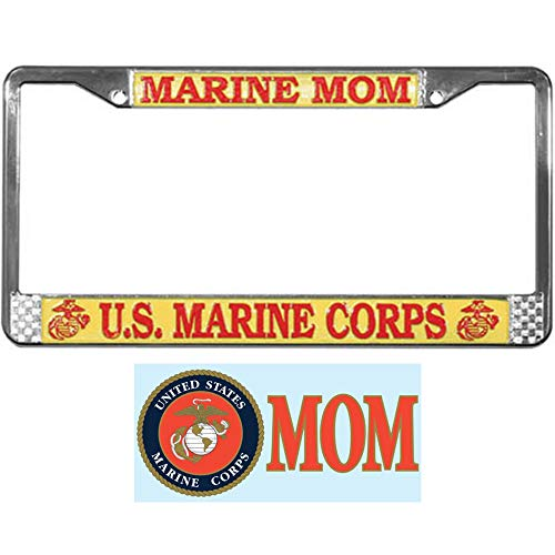 U.S. Marine MOM License Plate Frame Bundle with Marine Corps Mom Decal