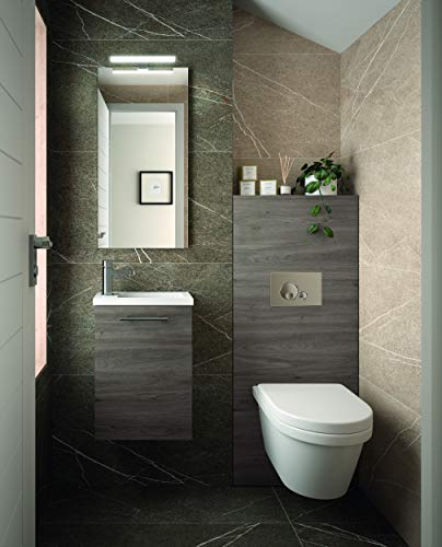 THE LIVING DESIGN FIND YOUR OWN STYLE Conjunto de Mueble de Baño Mini - 40 cm - 1 Puerta - Roble Oscuro. con Lavabo, Espejo y Aplique Led.