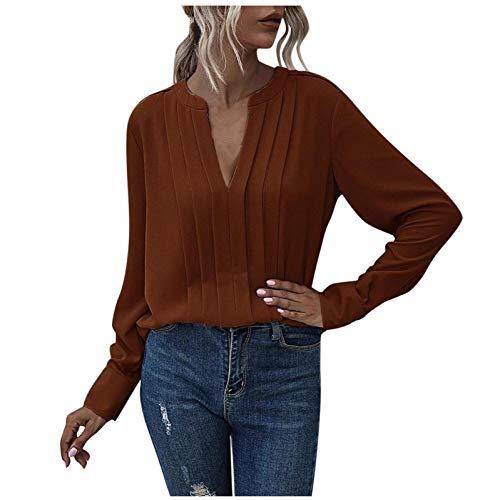 URIBAKY Camisa de mujer de manga larga de muselina de seda templada con cuello en V de color liso, blusa Tops para mujer marrón M