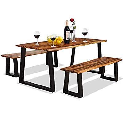 Giantex 3PCS Wooden Dining Set Bench Chair Rustic Indoor &Outdoor Furniture (Rustic Brown&Black)