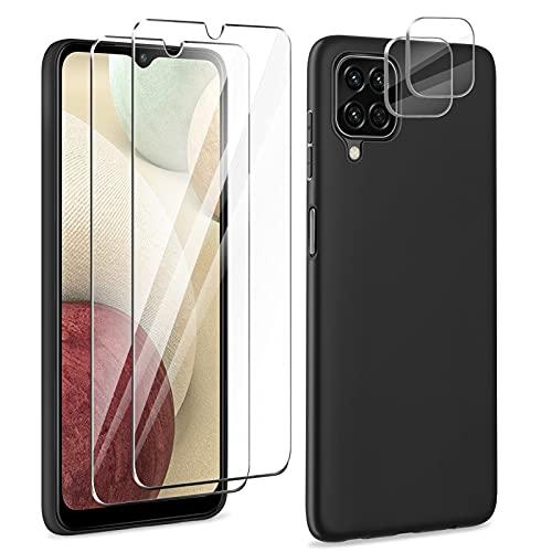 YIRSUR Hülle Kompatible mit Samsung Galaxy A12 mit 2 Panzerglas & 2 Kamera Schutzfolie, Handyhülle Hülle Premium Soft TPU Bumper Tasche Dünn Cover- Stoßfest Kratzfest (Black)