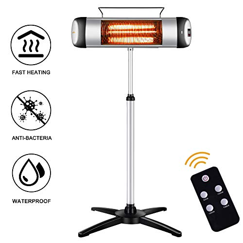 sundate Electric Outdoor Heater, Outdoor Patio Heater, Electric Infrared Space Heater Radiant Home Heater with Remote Control and 24-Hour Timer for Indoor/Outdoor Use, Free Standing or Wall Mounted