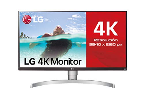 LG 27UL650-W - Monitor 4K UHD de 68,6 cm (27') con Panel IPS (3840 x 2160 píxeles, 16:9, 350 cd/m², sRGB 99%, 1000:1, 5 ms, 60 Hz) Color Plata y Blanco