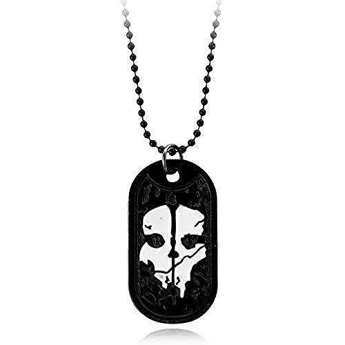 Collar Joyas Collar para hombre Fantasmas Etiqueta de perro Colgante Placa de identificación del ejército para la serie militar de servicio con armas Llamar a los fanáticos del juego Regalo