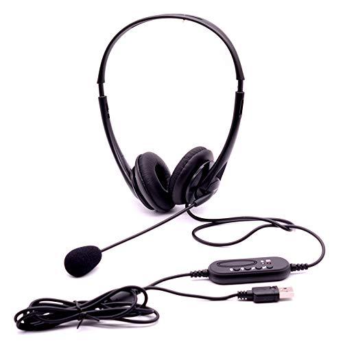 Keast USB-Freisprecheinrichtung mit Mikrofon, Geräuschunterdrückung, binaurales Headset, Kopfhörer mit Mikrofon für Computer/Telefon/Desktop