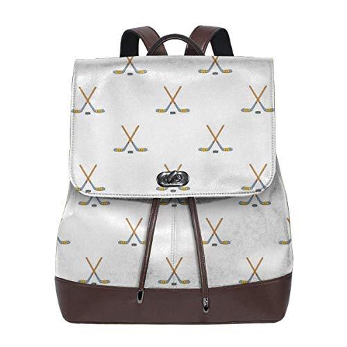 sunminey Damen Lederrucksack Hockey Sticks Women's Leather Backpack Travel Casual Elegant Drawstring Shoulder Bag Travel Bags