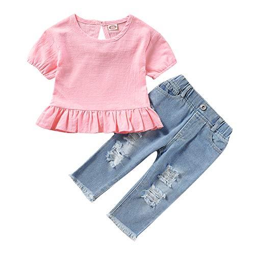 Tianhaik Kids Peuter Meisje Mode Pak Effen Kleur T-shirt met korte mouwen + Gat Denim Broek voor Casual