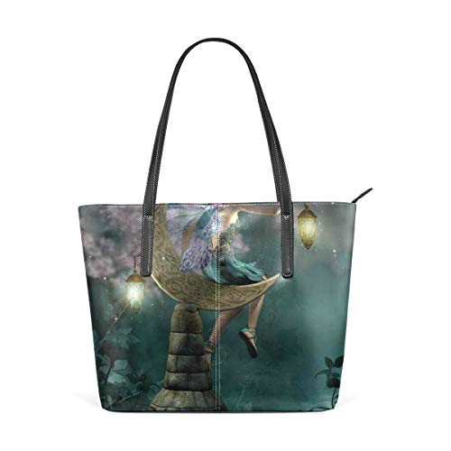 NR Multicolour Fashion Damen Handtaschen Schulterbeutel Umhängetaschen Damentaschen,Kleiner Elf mit der Laterne, die auf Mond-Steinmärchen-Mythos-Kitsch-Grafik sitzt