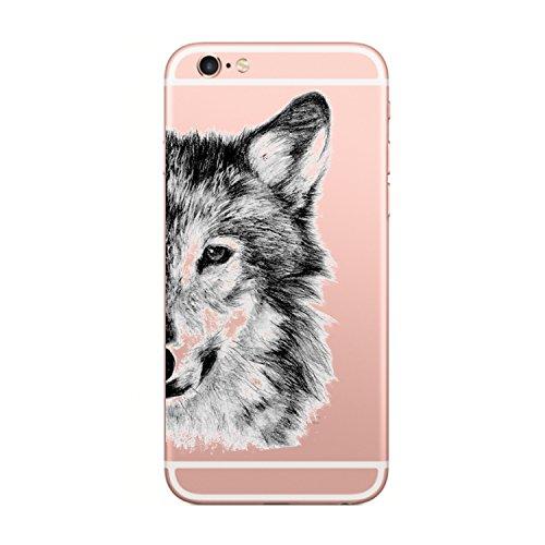 Caler Kompatibel mit/Ersatz für Hülle iPhone 6S/6 Hülle Weiche Flexible Silikon-Handy-Hülle Transparente Ultra Slim TPU dünne stoßfeste mit Motiv Tasche Etui Schutzhülle Case Cover(Wolf)