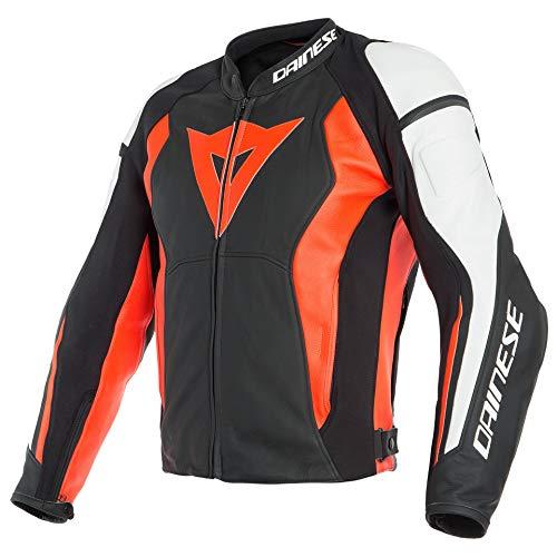 Dainese Motorradjacke mit Protektoren Motorrad Jacke Nexus Lederjacke schwarz/neonrot/weiß 62 (3XL), Herren, Sportler, Ganzjährig