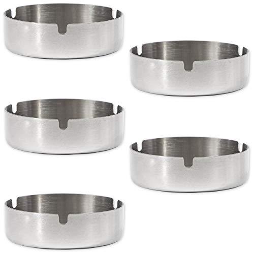 Imagen del producto Juvale - Cenicero redondo de acero inoxidable (5 unidades)