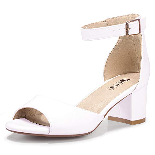 IDIFU Women's Candie Low Block Heels Sandals Peep Toe Chunky Ankle Strap Wedding Dress Shoes (7 M US, White Pu)