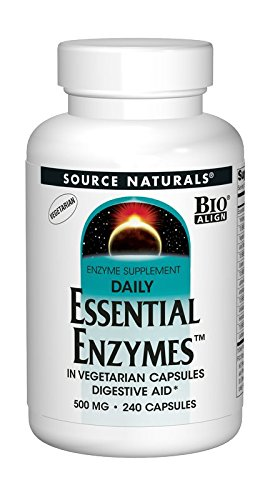 Source Naturals Essential Enzymes 500mg Bio-Aligned Multiple Supplement Herbal Defense For Digestion, Gas & Constipation Relief & Daily Digestive Health - Strong Immune System Support - 240 VegiCaps