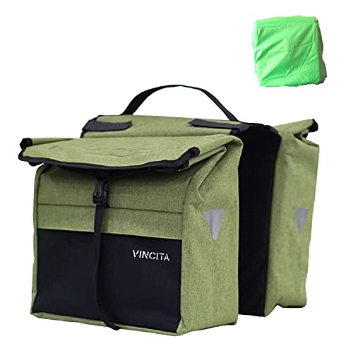 Vincita Top Load Double Pannier Water Resistant Cycling Side Bags - with Rain Cover, Large, Carrying Handle, Reflective Spots - Bike Rack Carrier Saddle Bag - Bicycle Accessories (Black/Green)