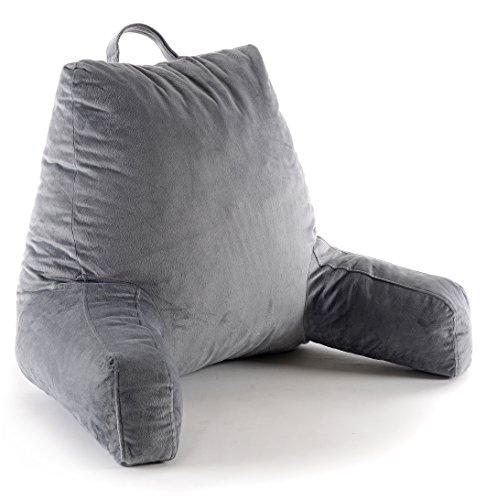 Cheer Collection Foam-Filled Reading and Gaming Pillow with Armrest and Washable Velour Cover, Gray