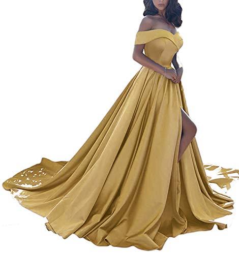 Homdor Split Off Shoulder Prom Evening Dress for Women A-Line Satin Formal Gown Gold Size 6