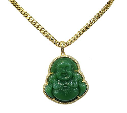 Iced Laughing Buddha Green Jade Pendant Necklace Miami Cuban Link 6mm Chain Genuine Certified Grade A Jadeite Jade Hand Crafted, Jade Neckalce, 14k Gold Filled Laughing Jade Buddha Necklace (20.0)