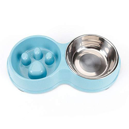 CJFael - Ciotola per cibo per cani e gatti, doppia ciotola, in acciaio inox, anti sfregamento, per interni blu