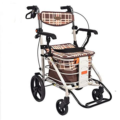 Andador ligero plegable de 4 ruedas con asiento acolchado Frenos bloqueables Asas ergonómicas Bolsa de transporte Carrito de compras Carrito de compras para ayuda de movilidad limitada 58X48X86cm