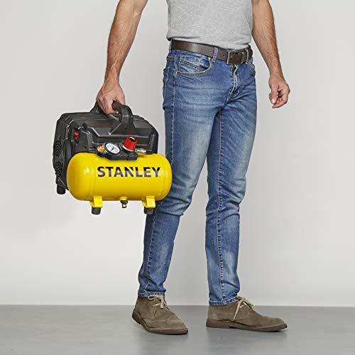 Stanley 100/8/6 Silent Air Compressor DST 100/8/6SI, 750 W, 230 V, Giallo - 4