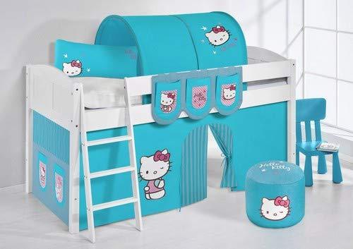 Lilokids Lit Mezzanine IDA 4106 Hello Kitty Turqoise - Système de lit évolutif Convertible Blanc - avec Rideau