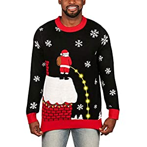 Tipsy Elves Men's Light Up Ugly Christmas Sweater Leaky Roof Santa Taking a Leak LED Pullover Size XX-Large