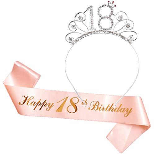 Ouceanwin Corona de cumpleaños, banda para despedida de soltera, juego de tiara de cristal, diadema con banda de satén para 30 cumpleaños, accesorios decorativos para regalo