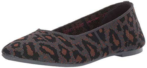 Skechers womens Cleo - Claw-some Leopard Print Engineered Knit Skimmer Ballet Flat, Charcoal, 5 US