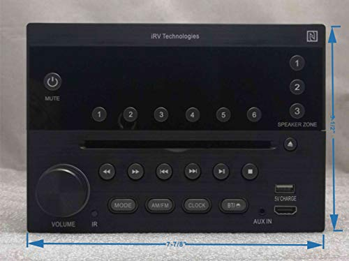 iRV Technology iRV32V2 AM/FM/CD/DVD/MP3/MP4/HDMI in&Out w/ARC/Digital 2.1/Surround Sound/Bluetooth/CEC/NFC,3 Zones Wall Mount RV Radio Stereo w/APP Control, USB Using 5V Charging Both Android&Apple