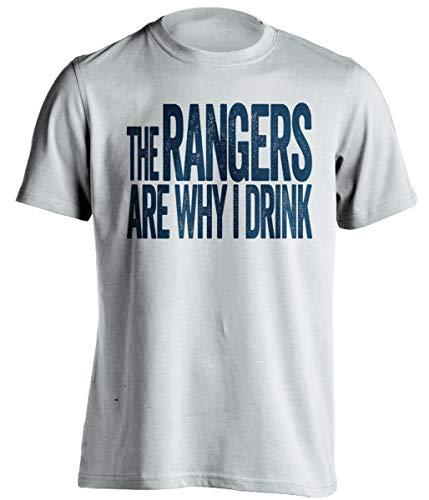 The Rangers are Why I Drink - Divertida camiseta de autoservicio – Versión azul marino y rojo – Death Ray Prints