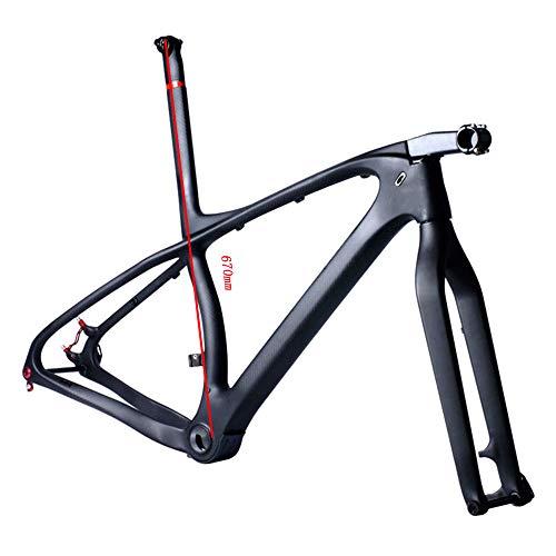 NXXML Cuadro de Fibra de Carbono Ultraligero, Cuadro de Bicicleta MTB de 29 Pulgadas, cableado Interno de Velocidad Variable con Horquilla Simple, Negro,S