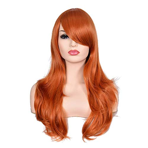 Morvally 23' Long Wig Big Wavy Heat Resistant Synthetic Straight Hair with Bangs for Cosplay Costume Halloween Party (2735# Ginger Orange)