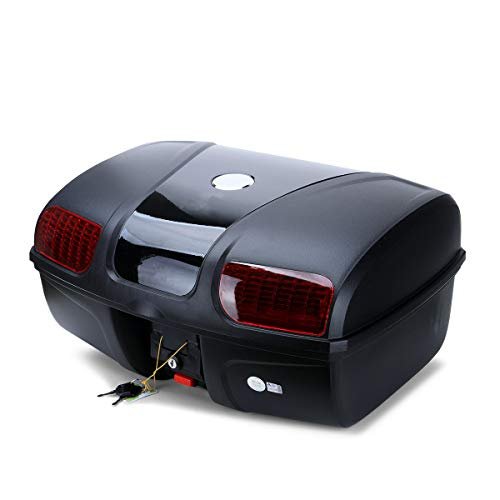 AUTOINBOX Universal Motorcycle Rear Top Box Tail Trunk Luggage Case,47 Litre Hard Case with Mounting Hardware ,Black