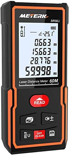 Laser Entfernungsmesser, Meterk 60 Meter Messbereich, Einstellungen für 2.0 Zoll LCD Hintergrundbeleuchtung, 30 Gruppen von Datenspeicher, Automatische Berechnung von Fläche und Volumen