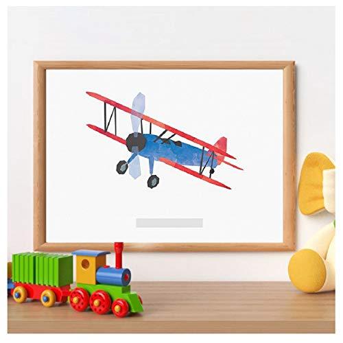 Kinderkamer muur canvas schilderij vliegtuig dubbeldekker vintage stijl poster en print vliegtuig foto kinderen jongens kamer-40x60cm-frameloze