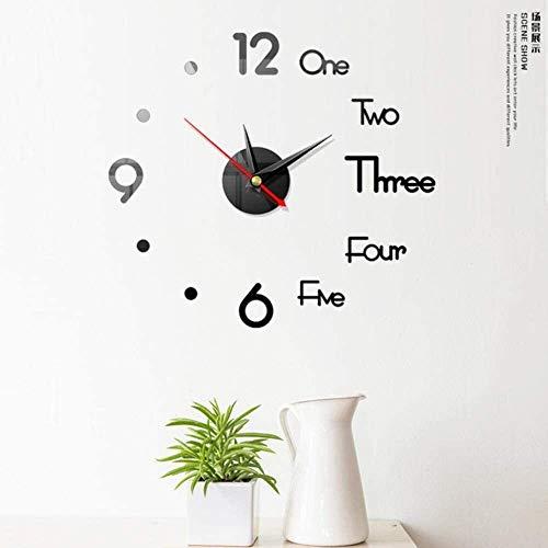 PLH Orologio 3D Orologio da Parete Orologio da Parete Fai da Te Ricoverato d'urgenza Specchio Sticker Living Room Decor, M, L Orologio (Color : J)