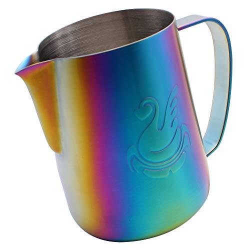 Dianoo Espresso-dampfkrug, Milchkännchen Zum Aufschäumen, Espresso Milchaufschäumkrug Edelstahl, Kaffeekanne, Latte Art Tasse 600ml Hellblau