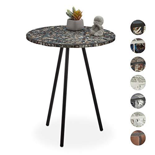 Relaxdays Beistelltisch Mosaik, runder Ziertisch, handgefertigtes Unikat, Mosaiktisch, HxD: 50 x 41 cm, schwarz-gold