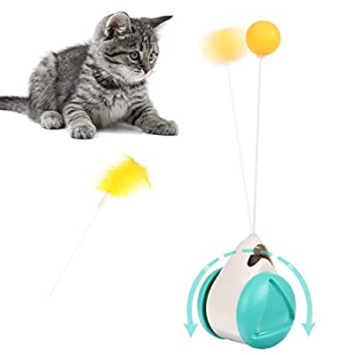 Phoetya Interactive Motion Activate Cat Toys, Self Rotating Ball Roller Catnip Pet Toy with One Replacement Feather Toy