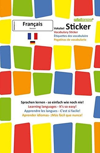 mindmemo Vokabel Sticker - Grundwortschatz Französisch / Deutsch - 280 Vokabel Aufkleber für Kinder und Erwachsene Französisch lernen leicht gemacht ... Lernen ganz einfach - 3D Lernhilfe