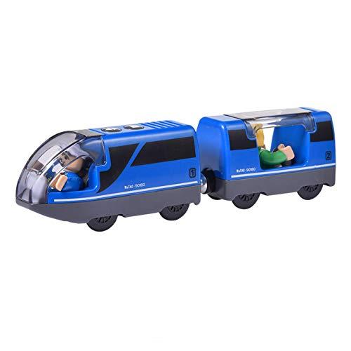 EEOO Treno Locomotiva a Batteria (connessione Magnetica) - Set di trenini da Viaggio potenti per Treni e binari in Legno Brio - Set di trenini Giocattolo per Bambini