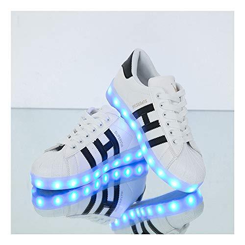 WXBYDX 7 Farbe USB Aufladen LED Leuchtend Sport Schuheschuhe Mit Licht Turnschuhe für Unisex-Erwachsene Herren DamenWhite ~ Black-44