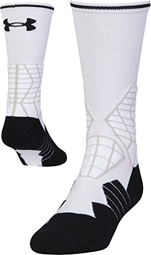 Under Armour Men's Football Crew Socks, 1-Pair, White/Black, Shoe Size 12-16